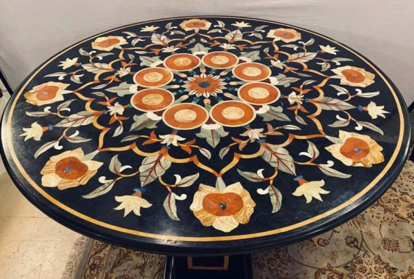 Pietra Dura Floral Painted Dining Table top