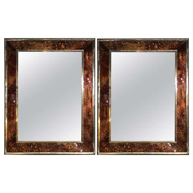 Pair of Brown Shell Wall Mirrors, Mid-Century Modern Mirror